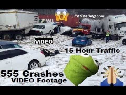 555 Car Crashes in NJ in Hours, 15 Hour TRAFFiC becasue of Inches Snow 😨❄️