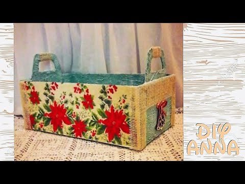 christmas decoupage recycle shoe box diy christmas basket ideas decorations craft tutorial - Christmas Basket Decorations