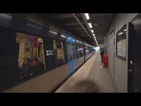 Sweden, Stockholm, subway ride from Farsta Strand to Farsta