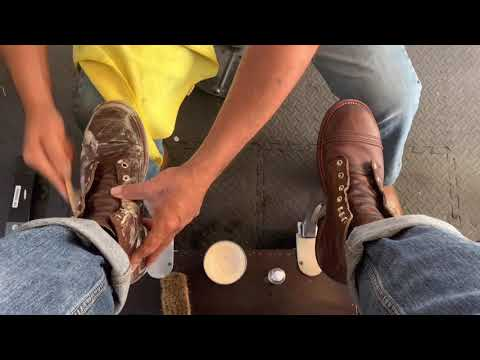 Shoe Shine ASMR, Red Wing Iron Rangers  Restoring The Color