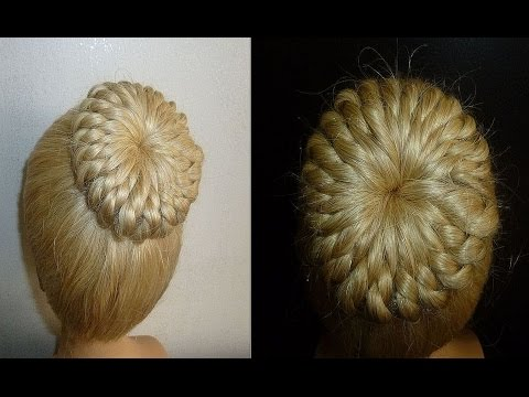 Einfache Frisur:Flechtfrisur.Zopffrisur mit Duttkissen/Dutt.Donut Hair Bun Updo Hair.Peinados