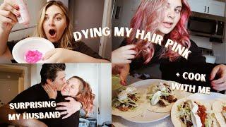 VLOG: dying my hair pink & surprising my husband!