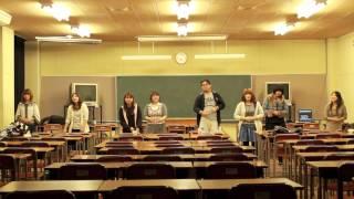 山口県立大学手話サークル「幸せの☆」の有志による手話歌発表の練習風景...
