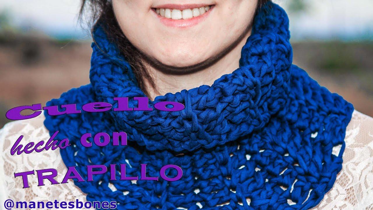 C mo hacer un cuello con trapillo tutorial diy crochet - Como hacer trapillo ...