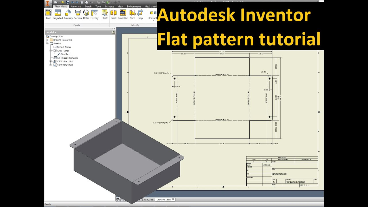 Autodesk Inventor Tutorial Flat Pattern To Drawing Idw