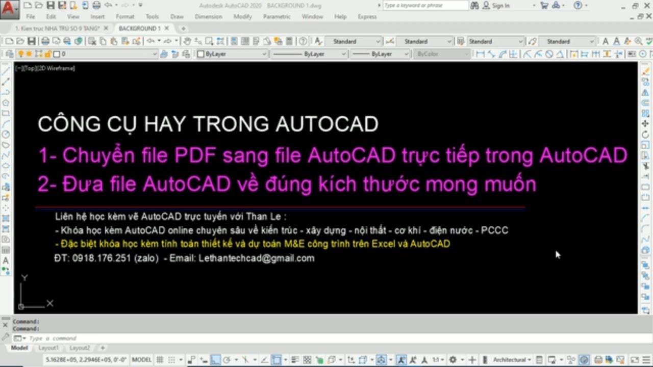 Dùng AutoCAD chuyển file PDF sang file AutoCAD | Scale file CAD về đúng kích thước thật