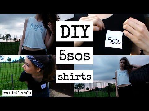 DIY 5 Seconds Of Summer shirts (+wristbands) - No sew