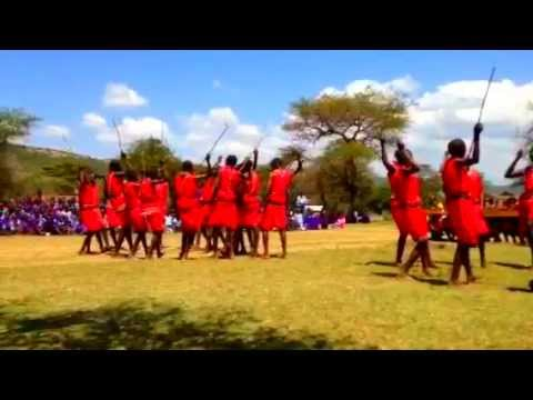 Nkenijii School boys performing a traditional Maasai Dance