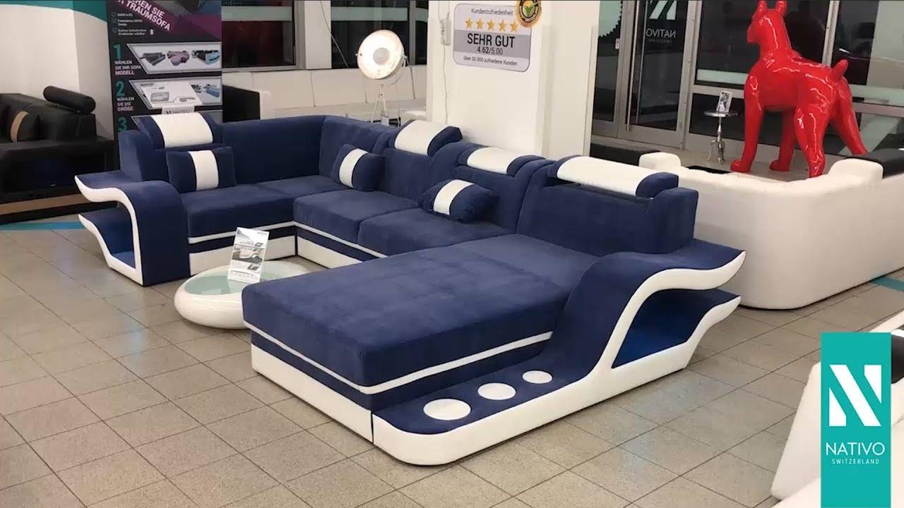 nativo mobili italia divano di design hermes xl con illuminazione a led youtube