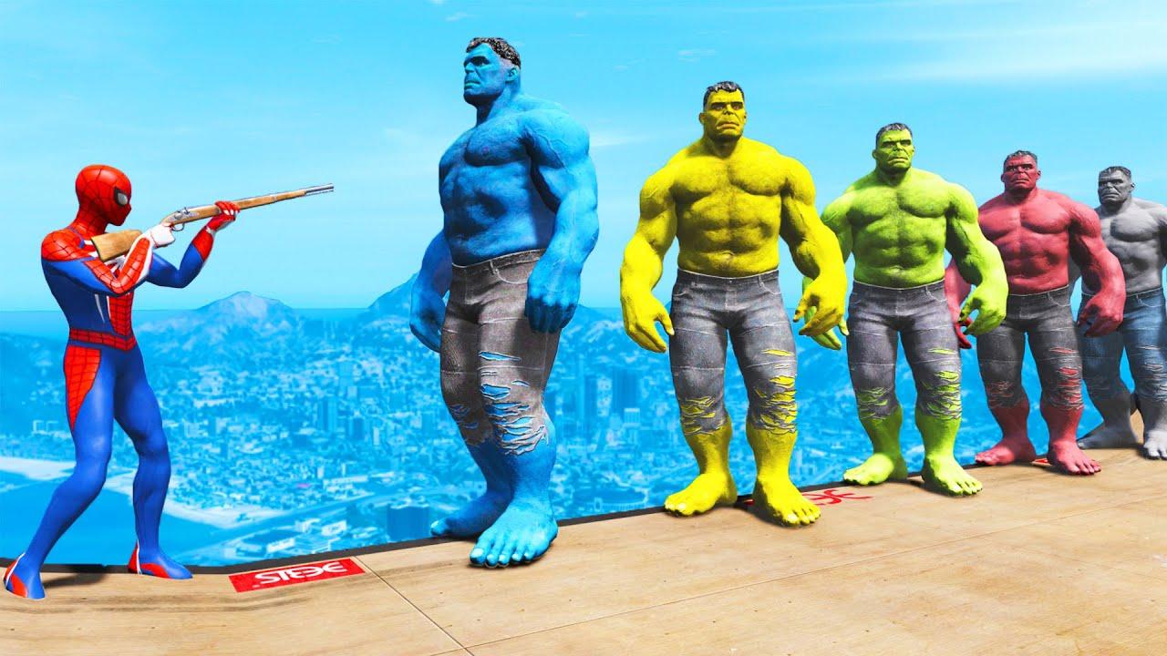 GTA 5 Water Ragdolls Spiderman VS Blue Hulk VS Green Hulk ...