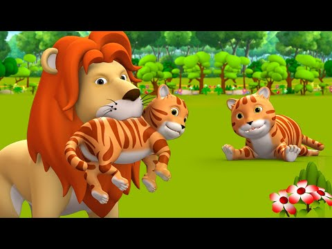 The Cat And Lion King 3D Kids Hindi Moral Stories बिल्ली मौसी और शेर राजा हिन्दी कहानी Fairy Tales