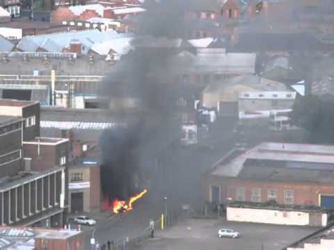 Birmingham riots - van on fire