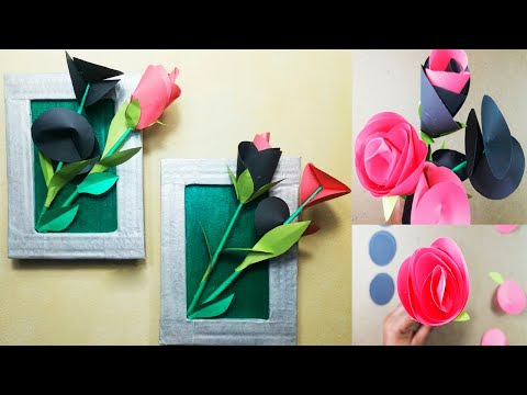 Beautiful paper flower wall decorations Handicraft wall hanging Paper craft idea