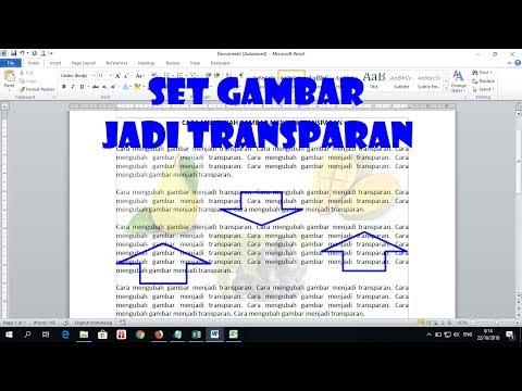 Cara Menjadikan Gambar Dalam Dokumen Word Jadi Transparan Youtube