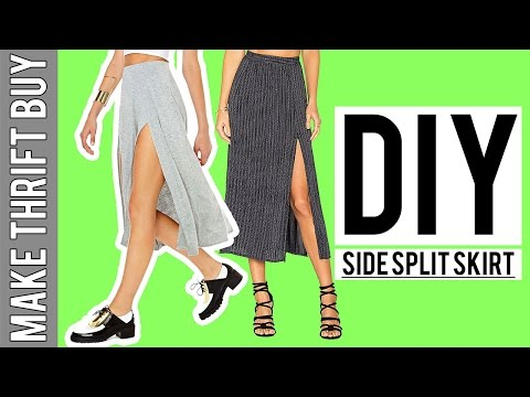 DIY Side Split Jersey Skirt   Make Thrift Buy #54