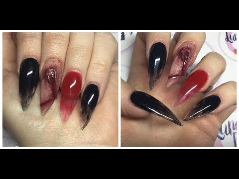 HALLOWEEN ACRYLIC NAILS . REALISTIC CUT NAIL BLACK SMOKE ...