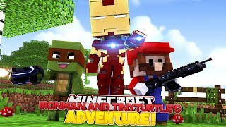 IRON MAN AND TINY TURTLE TAKE DOWN EVIL MARIO IN HIS CASTLE - Minecraft Adventure