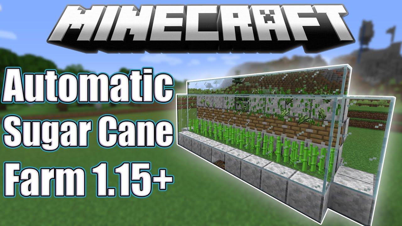 Minecraft: Easy Automatic Sugar Cane Farm Tutorial [1.14-1 ...