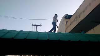 Vinícius e Junior no telhado