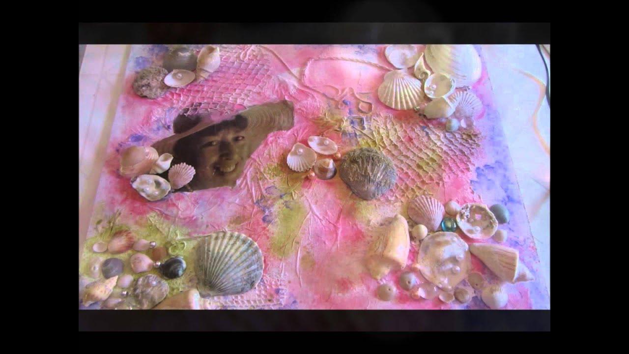 Como hacer un cuadro con caracoles con tecnica mixta - Como hacer conchas finas ...