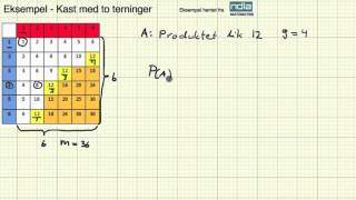 Matematikk - 2PY - Sannsynlighet - Eksempel Kast med to terninger  2
