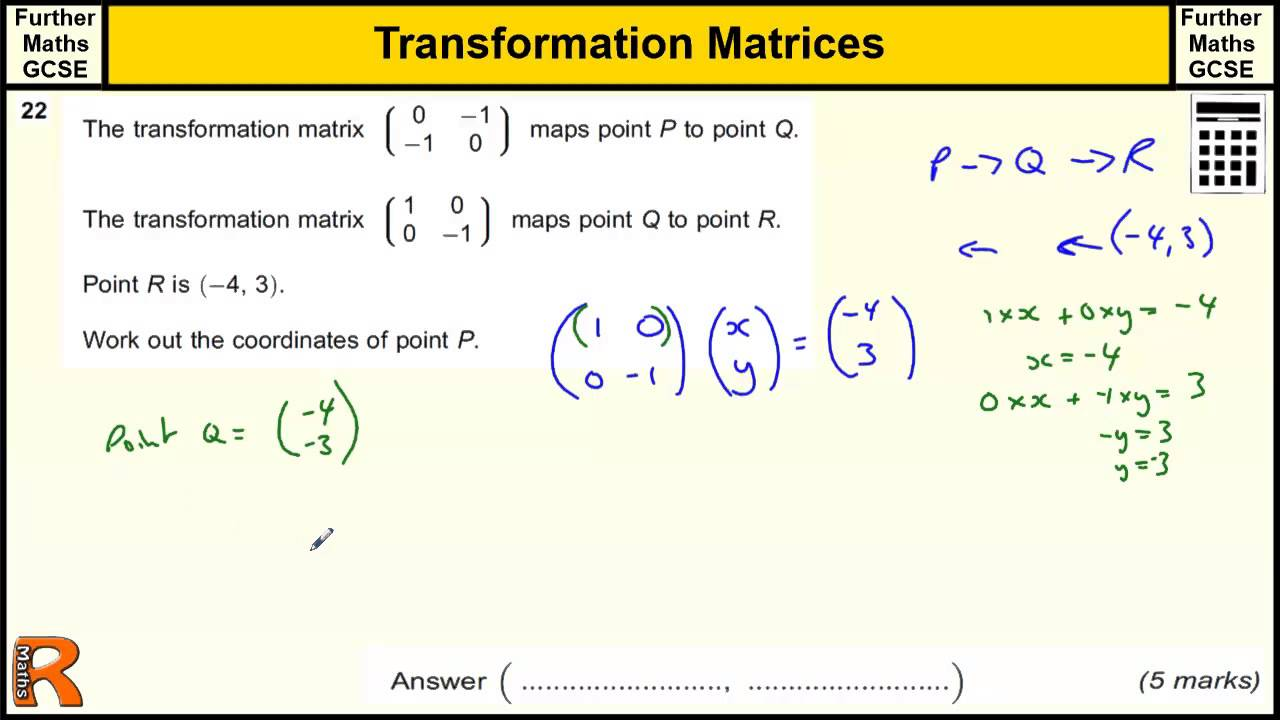 Transformation Matrices GCSE Further Maths revision Exam paper ...