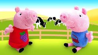 Мультик Свинка Пеппа и животные с фермы. Зачем Свинке овечка, петух и курочка? Видео с игрушками