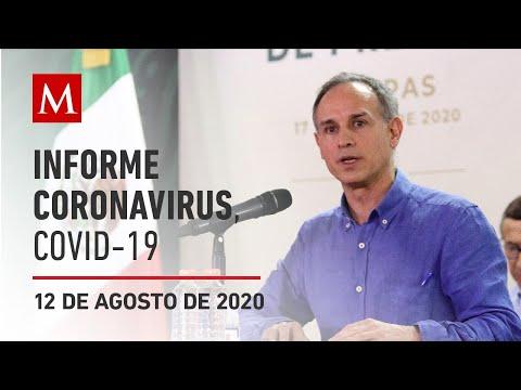 Informe diario por coronavirus en México, 12 de agosto de 2020