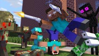 Monster School : ZOMBIE APOCALYPSE NOOB vs PRO CHALLENGE - Minecraft Animation