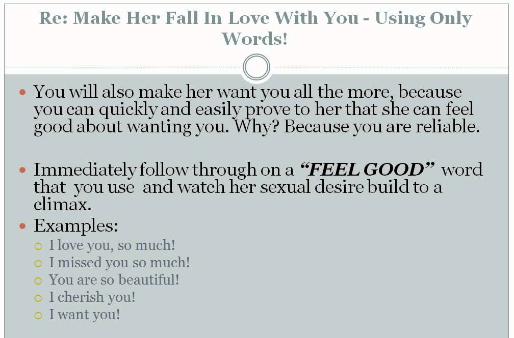 words to make her fall in love with you