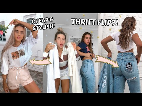 WE DIY'd OUR OLD CLOTHES! *Trendy & Affordable* (Transformation) | Thrift Flip // Mescia Twins