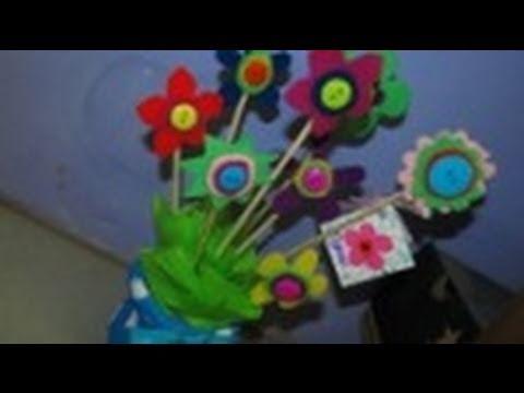 Florero para el dia de las madres youtube - Manualidades decorativas para el hogar ...