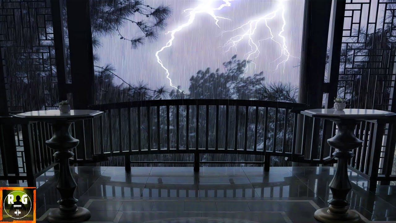 Fall Asleep with Heavy Thunderstorm Sounds | Rain on Porch, Thunder and Lightning Sound Effects