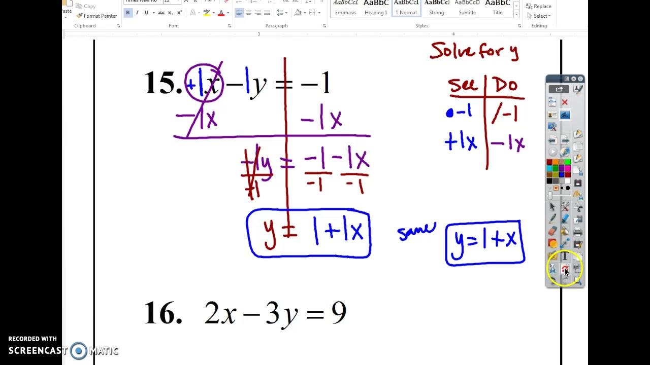 Don't Ask y (Solve For y) Worksheet