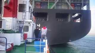 قاطرة تدفهع سفينة عملاقة فى قناة السويس بأحترافية 17فبراير