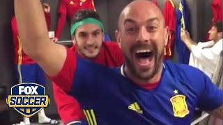 Spain does mannequin challenge in Wembley locker room