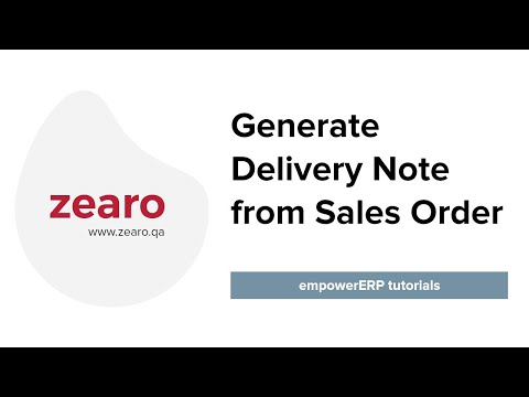 How to generate Delivery Note from Sales Order
