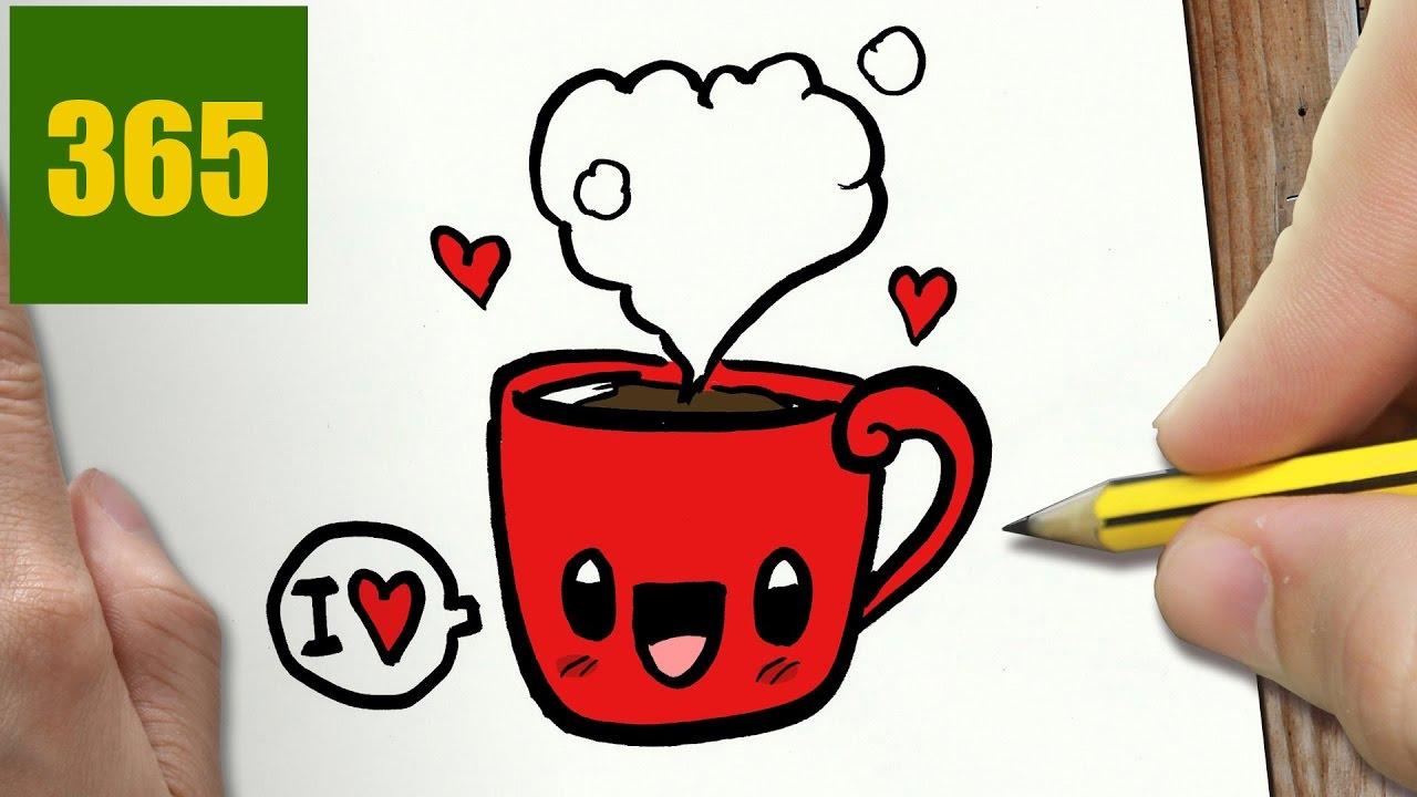 Comment Dessiner L Amour Du Cafe Kawaii Etape Par Etape Dessins