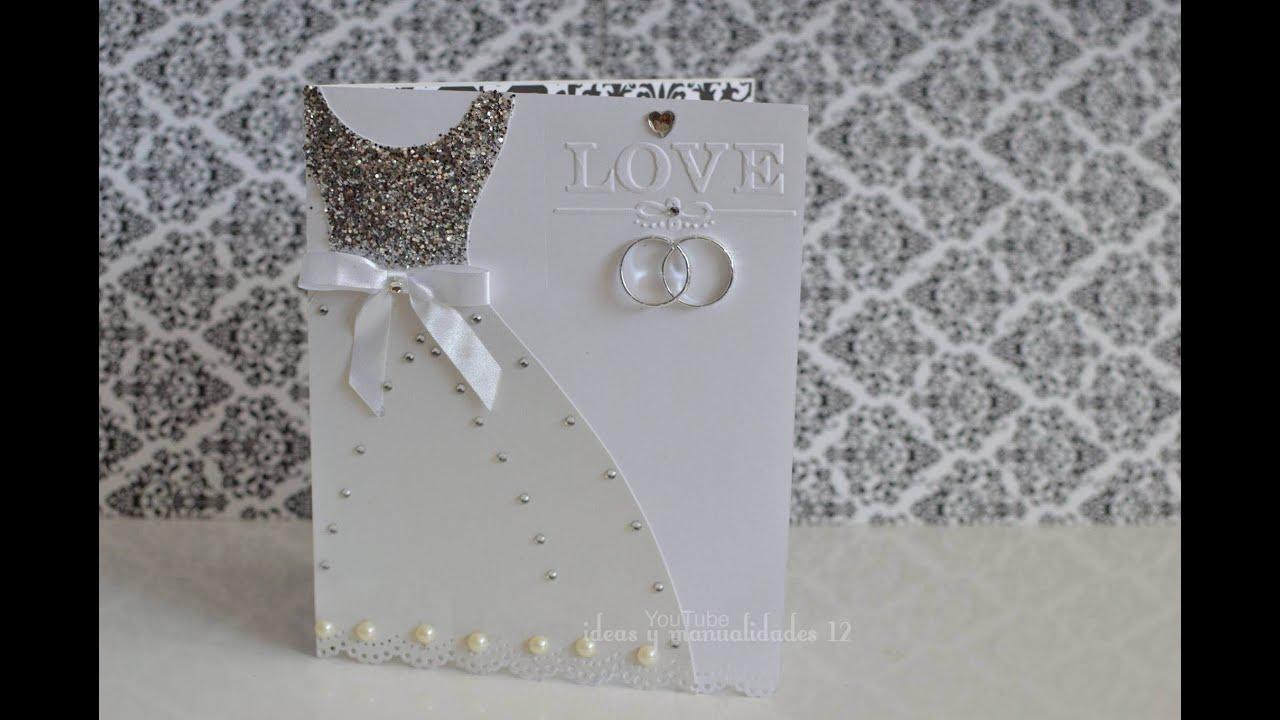 Invitaciones para bodas vestido de novia youtube - Tarjeta de boda ...