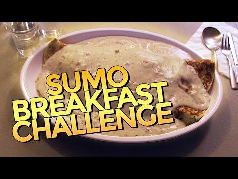 SUMO PANCAKE BREAKFAST CHALLENGE w/ GRAVY!!