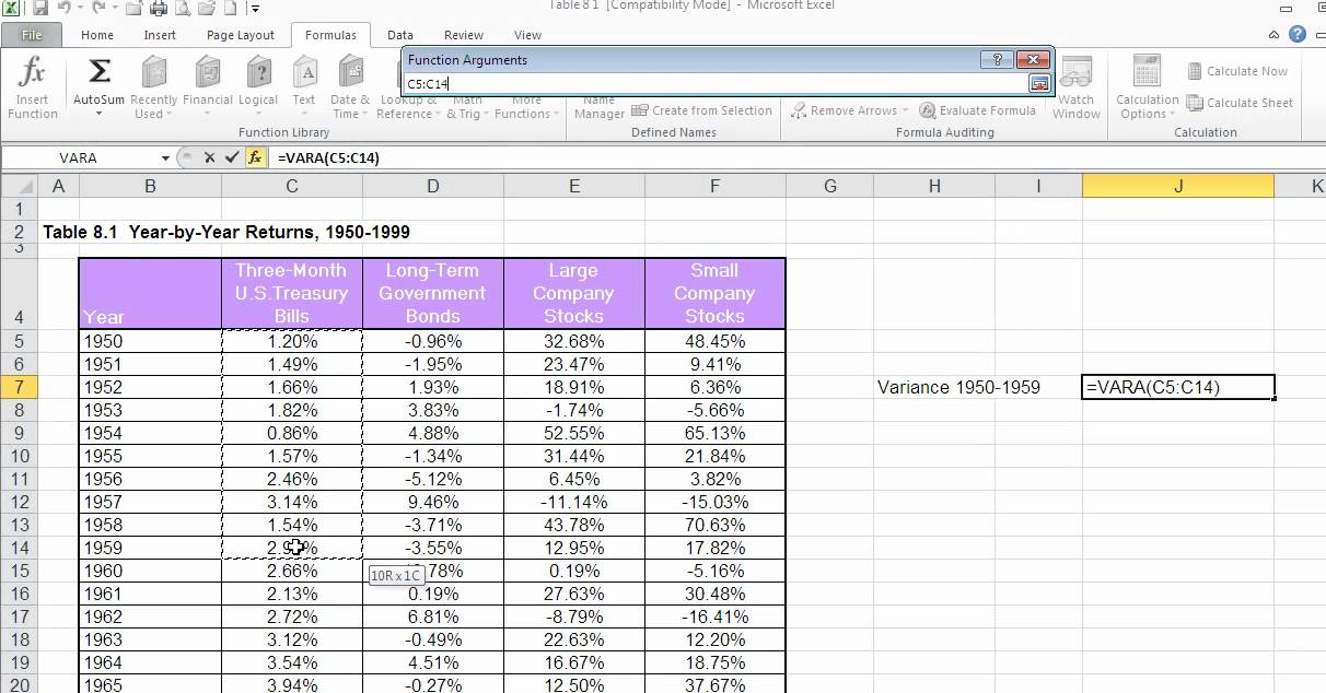 standard deviation and variance using excel functions