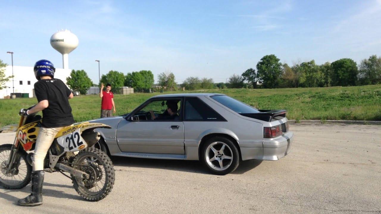 Dirt bike vs 87 mustang 5 0 ho