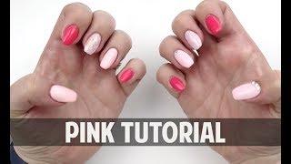 PINK ON PINK ON PINK GLITTER - Hard Gel Nail Tutorial