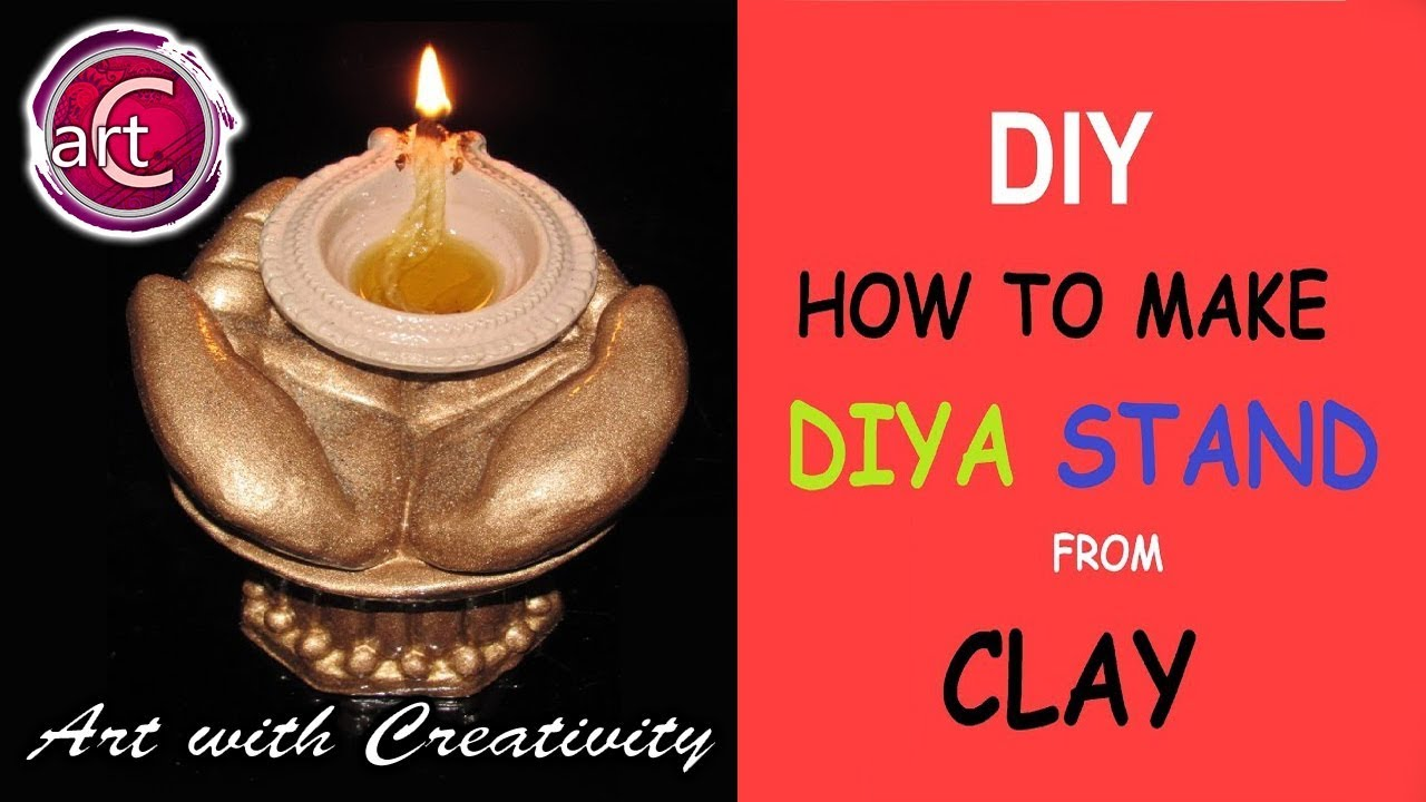 How to make diya stand (from clay) - YouTube