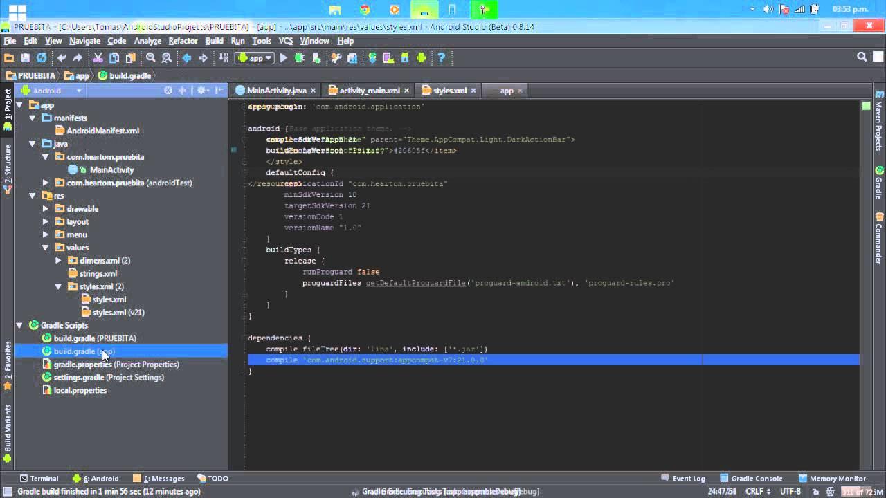Android Studio Tutorial Espa 241 Ol 1 24 Cambiar Color Barra