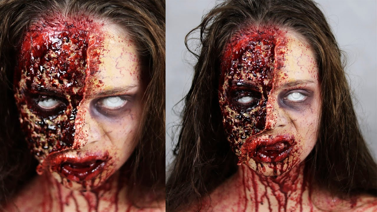the walking dead zombie - halloween sfx makeup tutorial - youtube