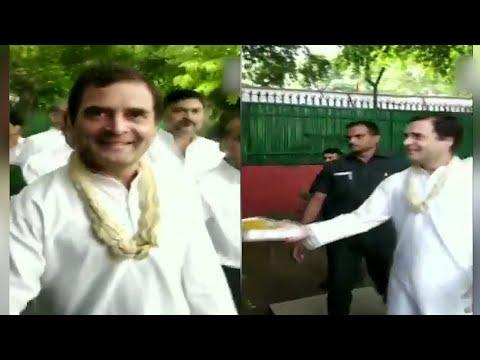 Rahul Gandhi shares ladoos with journos on his 49th birthday