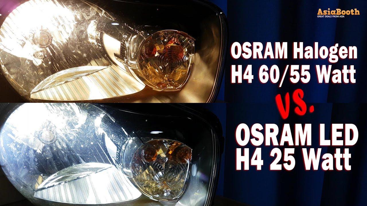 Osram Led Hl Vs Halogen Bulb H4 H L Youtube