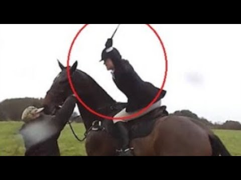 Woman On Horseback Whips Anti-Hunting Activists