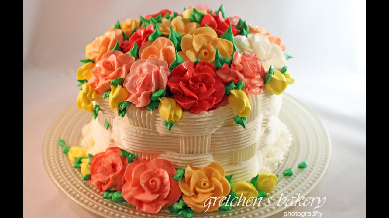 Basketweave Flower Cake for Beginners - YouTube